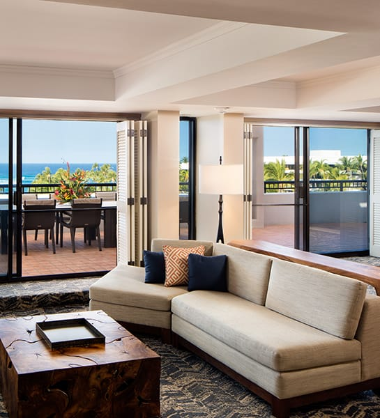 Two sofas in a living room overlooking the beach