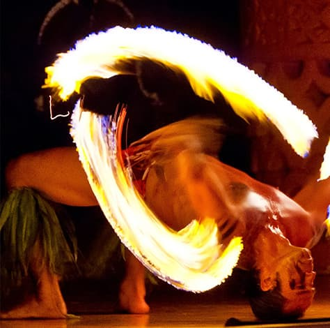 Fire acrobat at Legends of Hawaii Luau
