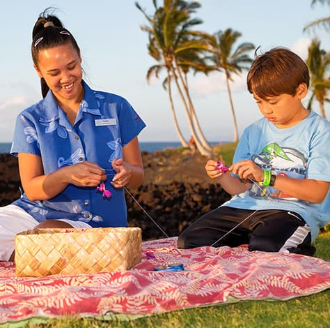 Lei making at Hilton Waikoloa Village