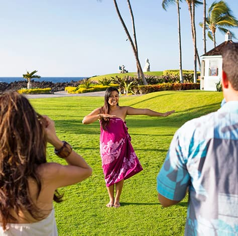 Hula lessons in the resort
