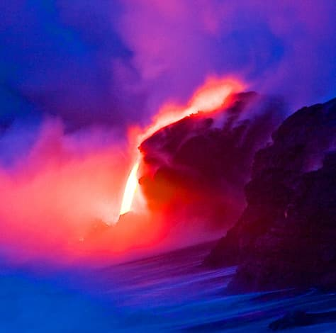 Lava entering the ocean