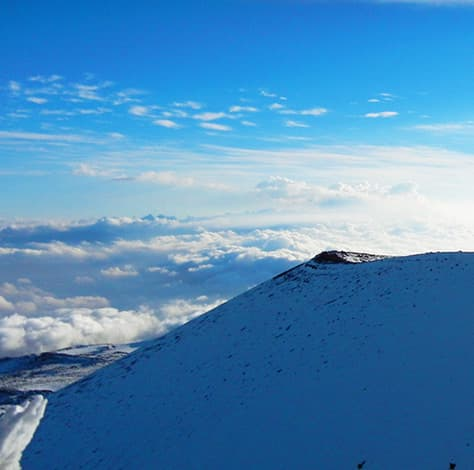 Snow-capped peak on Mauna Kea